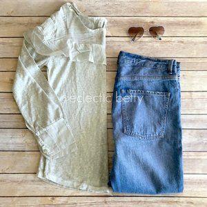 Anthropology Gray Slub Knit Ruffle Detail Blouse